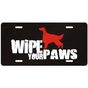 New  Irish Setter / Wipe Your Paws  License Plate Dog