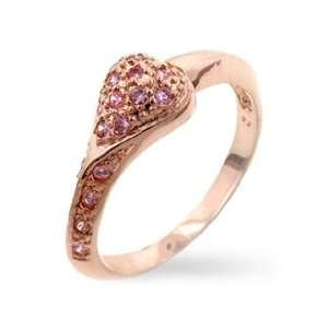 Islas Rose Gold Pink Cubic Zirconia Heart Ring   6