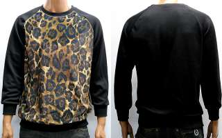 Mens Black Brown Leopard Print Long Sleeve T Shirts M / Animal Print