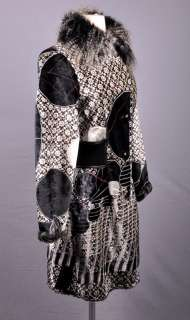 CARLOPIK Funky Boho Black/White Faux Fur Coat 38 / 4