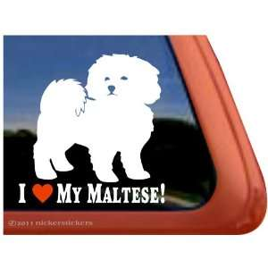 I Love My Maltese ~ Cute Puppy Dog Vinyl Window Decal
