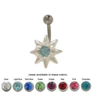 Sterling Silver Flower Design Belly Ring with Cz Jewel  TU245 Jewelry