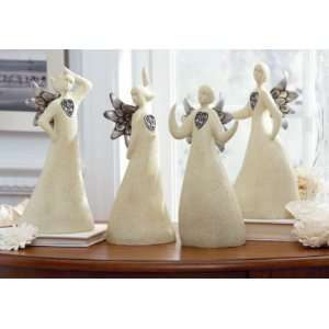 Set of 4 White Abstract Fluid Form Angel Christmas Table