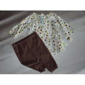 Lightweight Top and Legging Pant Set Blue/Brown Floral 12 Months Baby