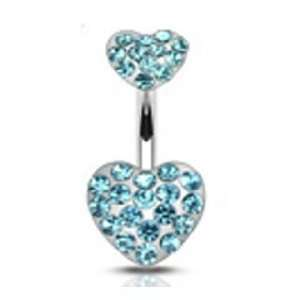 Heart Paved Aqua Cz Gem Belly Button Ring Navel 14 Gauge B20 Jewelry