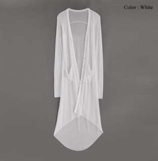 Womens Summer Ribbed Knit Dip Back Floor Length Long Cardigan