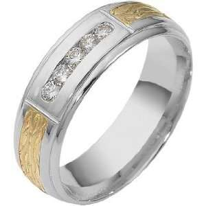 com 7mm 14 Karat Two Tone Gold Diamond Anniversary Wedding Band, 0.22