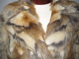 GUESS Faux Fur Animal Coat Jacket Light Browns MEDIUM NWT $129 Free