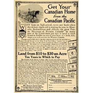 1912 Ad Canadian Pacific Railway Farm Homes Sale Horse   Original