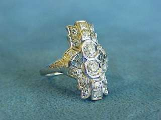 Antique Art Deco Nouveau 1920s Diamond Platinum Filigree Dinner Ring