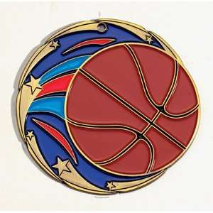 2 1/2 Die Cast Medals with Full Color Basketball detail