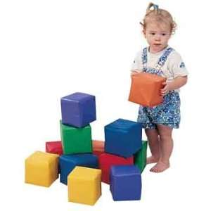 PRIMARY COLORS, 5 1/2 CUBE, SET OF 12 SOFT BABY BLOCKS Toys & Games