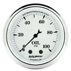 Tyme White 2 1/16 0 100 PSI Mechanical Oil Pressure Gauge Automotive