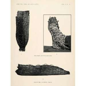 1910 Print Fish Trap Tule Moccasin Basket Native American