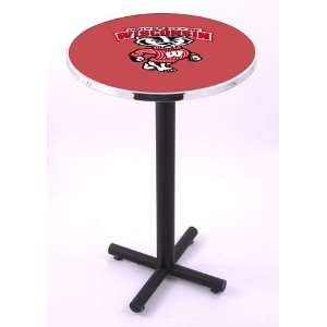 University of Wisconsin Badgers Round Pub Table With Black Base