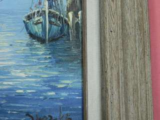 VINTAGE OIL ON CANVAS SAILBOATS SEA BOAT SIGNED FRAMED PAINTING