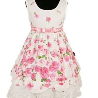 D206 Beautiful Baby White Pink Party Flowers Lace Dress 1 4T