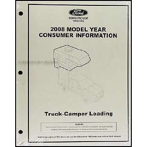 Pickup Camper Loading Instructions Original Consumer Info Ford Books