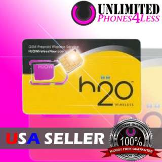 H2O WIRELESS UNLIMITED PREPAID MICRO SIM CARD FOR IPHONE 4 ATT