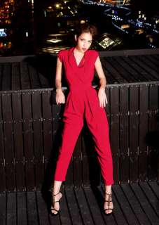 Womens V Neck Cap Sleeve Jumpsuits Rompers Long Pants Trousers 9391