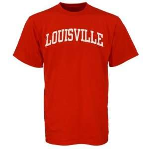 Louisville Cardinals Red Vertical Arch T shirt Sports