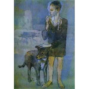 Oil Painting Boy with a Dog Pablo Picasso Hand Painted