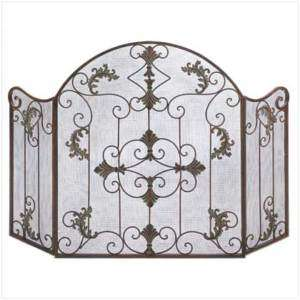 French chic Art Deco shabby ornate Modern iron Scroll FIREPLACE SCREEN