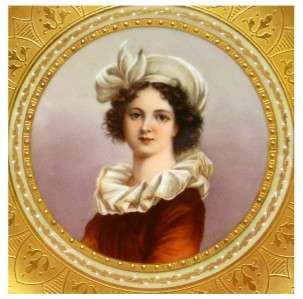 ROYAL VIENNA PORCELAIN CABINET PLATE, CENTRAL PORTRAIT OF VIGEE LEBRUN