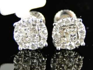 CT 14K MEN/LADIES WHITE GOLD ROUND CUT SOLITAIRE LOOK DIAMOND STUD