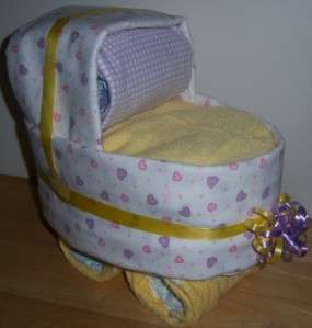 Baby Shower Diaper Bassinet, Diaper Cake, Heart, Safari, Stars