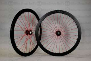 Velocity B43 Track Wheels BLACK RED RADIAL Fixed Gear