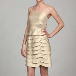 Jessica Howard Womens Champagne Bolero Jacket 2 piece Dress