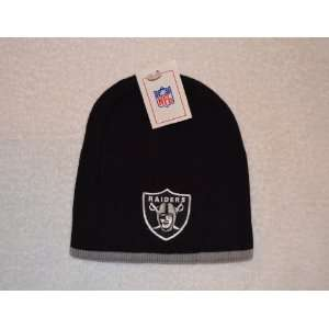 Oakland Raiders Black Skull Cap with Gray Trim   NFL