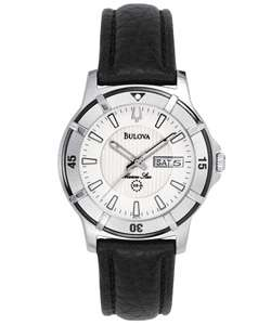 Bulova Marine Star Mens Black Leather Watch
