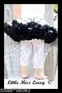 LACE TIGHTS LEGGINGS BABY GIRL BLACK WHITE SZ 1 9 YEARS