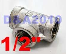Tee 1/2 3 way Female 304 Stainless Steel Pipe fitting threaded