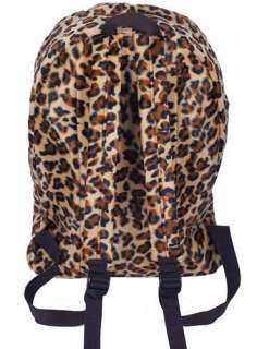 New Stylish Brown Leopard Print Backpack Zip Bag #B062B
