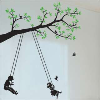 new WALL DECAL DECOR MURAL STICKER cute love TREE & SWING kids