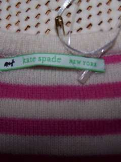nwt KATE SPADE 100% Cashmere Striped Baby Sweater Pink White $125 6 12