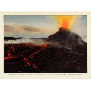 1924 Print Lava Magma Mauna Loa Hawaii Shield Volcano Eruption Natural