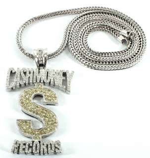 ICED OUT YOUNG MONEY CASH MONEY RECORDS PENDANT + 36 INCH FRANCO CHAIN