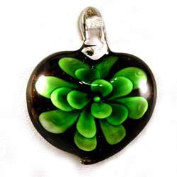 Murano Green Glass Flower Heart Pendant