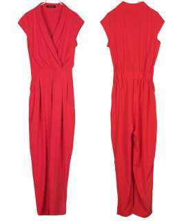 Womens V Neck Cap Sleeve Jumpsuits Rompers catsuit Long Pants Red