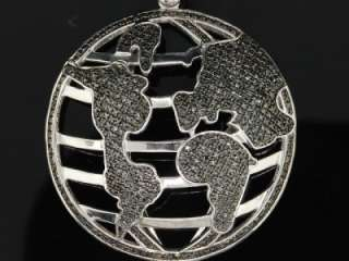 MENS WHITE GOLD FINISH BLACK DIAMOND GLOBE MAP CHARM