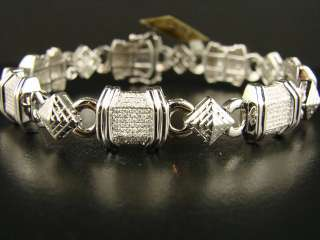 10K MENS WHITE GOLD SI PAVE DIAMOND BRACELET 3.80 CT