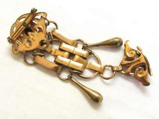 Old Vintage Art Nouveau Long Gold Filled Fob Pin Brooch