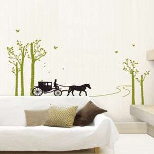 CARRIAGE & BIRCH TREE Wall Decal Sticker Removable Art