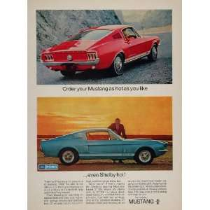 1967 Ad Red Ford Mustang GT 350 Blue 500 Carroll Shelby   Original