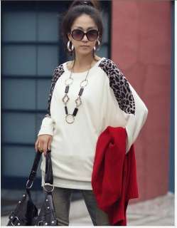 Batwing Tops Long Sleeve Casual Blouse Leopard Print T Shirt