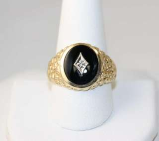 Mens 10k Yellow Gold Black Onyx & Diamond Nugget Ring SIZE 10